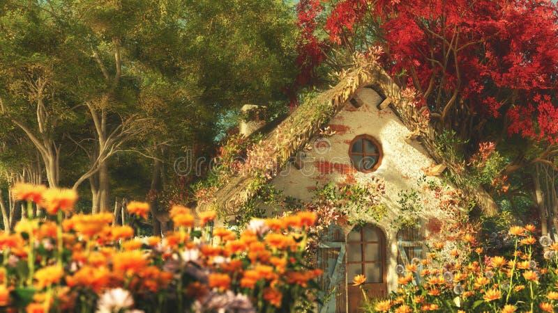 Het tuinplattelandshuisje, 3d Computergrafiek royalty-vrije illustratie