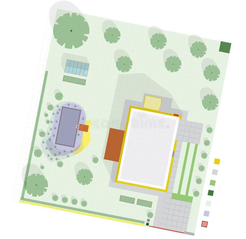Het tuinproject bij familiehuis in plan omvat zwemmende vijver stock illustratie