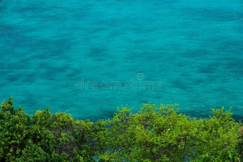 Het turkooise water met groene struiken voor het overzees steekt golven aan maakt tot de oppervlakte duidelijk water in diverse s stock afbeelding