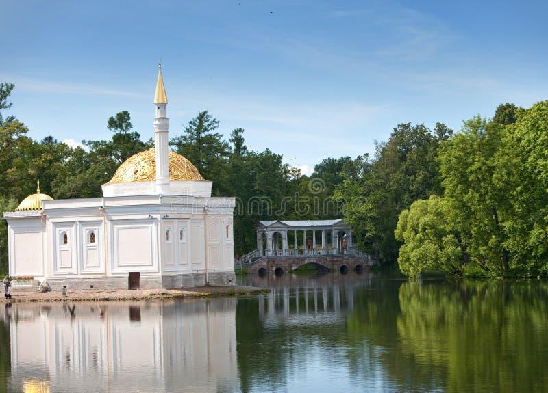 Het Turkse bad van het paviljoen Het park van Catherine Pushkin (Tsarskoye Selo) petersburg stock fotografie