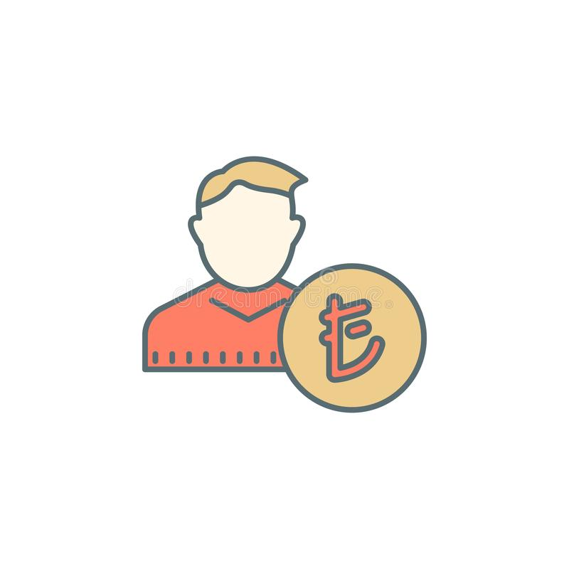 het Turkse pictogram van de de stijllijn van de Lireschemer Element van bankwezenpictogram voor mobiel concept en Web apps Kan he stock illustratie