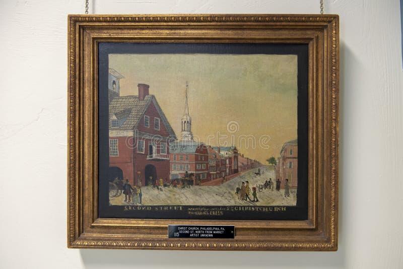 Het tweede de Kerk van Straatchristus schilderen door onbekende kunstenaar, de Presbyteriaanse Historische Maatschappij, Philadel stock afbeeldingen