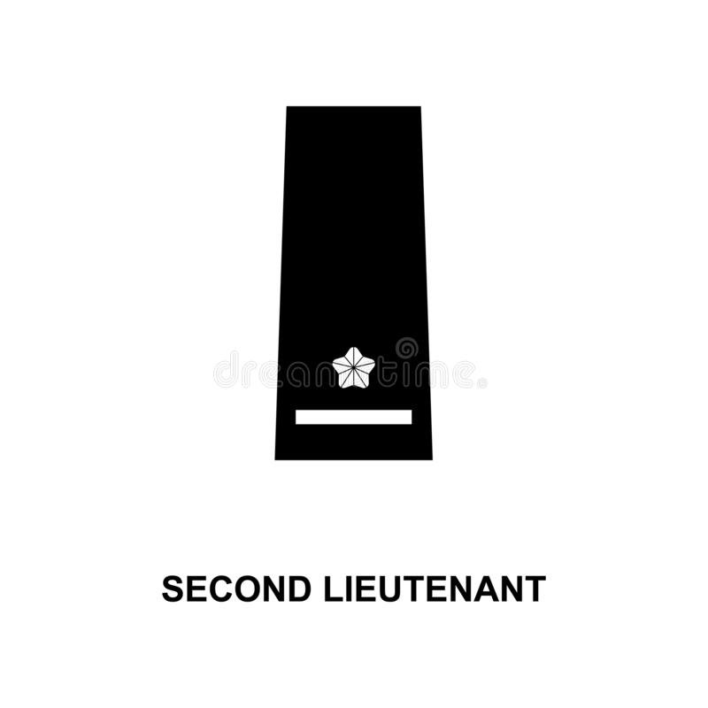 het tweede luitenant militair rangen van Japan en insignes glyph pictogram vector illustratie
