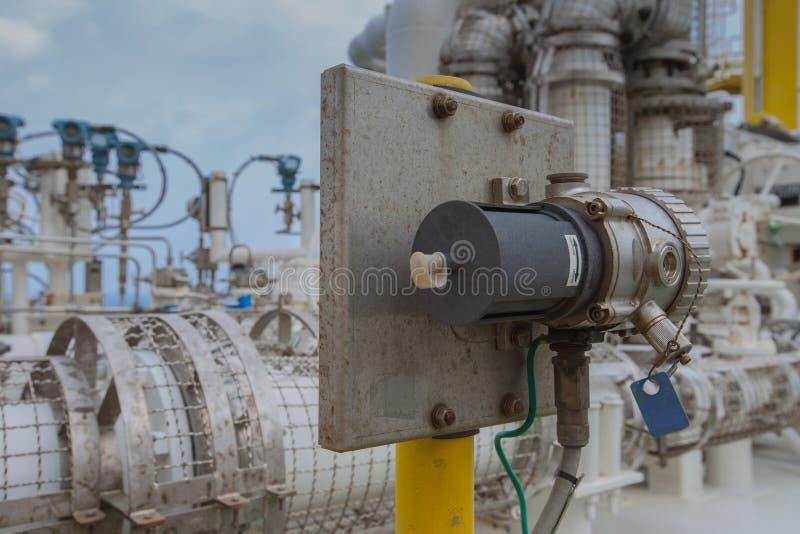 Het type van gasdetector poin installeert dichtbij gascompressor om eender welke het lekken van gas voor veiligheid te ontdekken stock foto