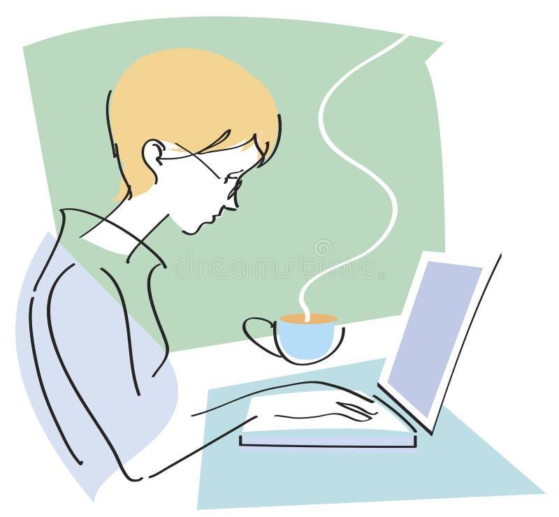 Het Typen van de vrouw op Laptop stock illustratie