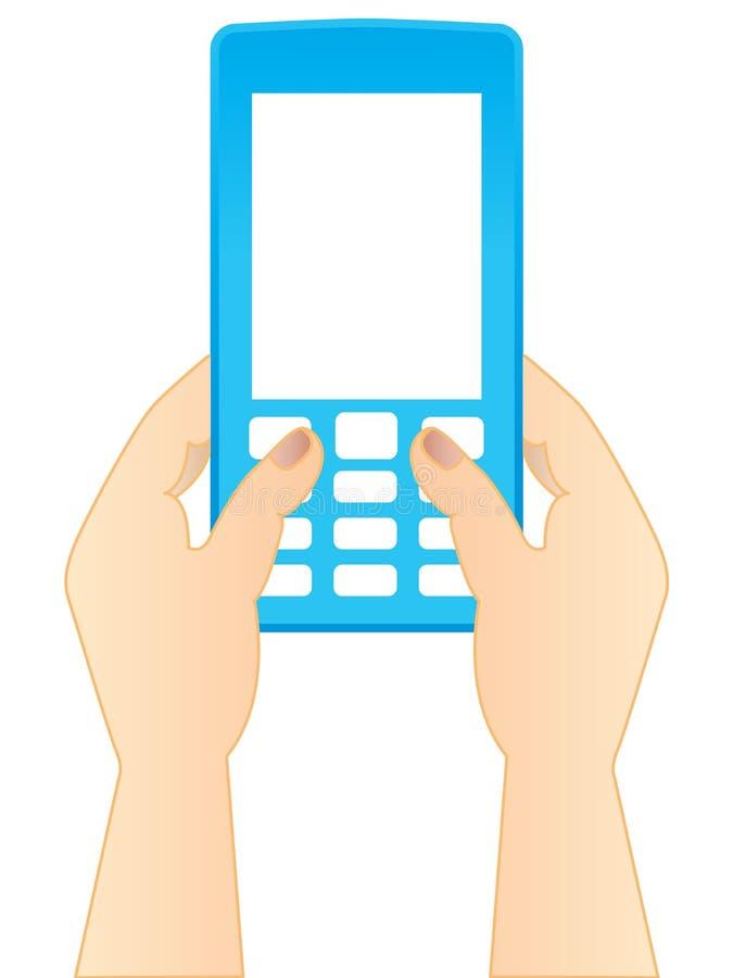 Het typen van een SMS stock illustratie