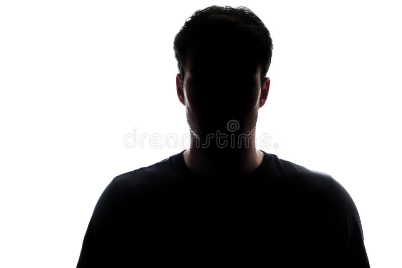 Het typische hogere silhouet die van de lichaamsmens een t-shirt dragen stock afbeelding