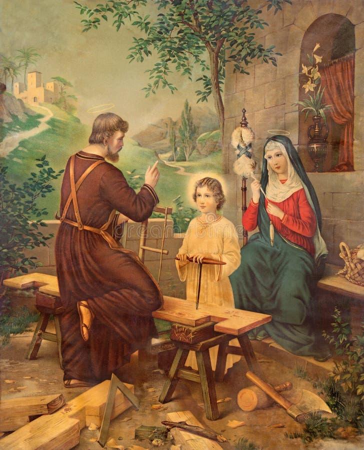 Het typische katholieke beeld drukte beeld van Heilige Familie van het eind van 19 cent royalty-vrije stock fotografie