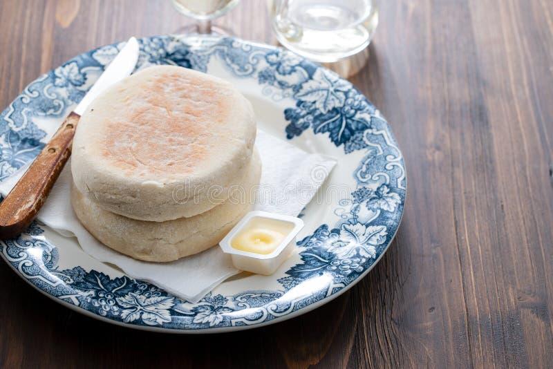 Het typische Portugese brood van Madera Bolo doet caco royalty-vrije stock afbeeldingen