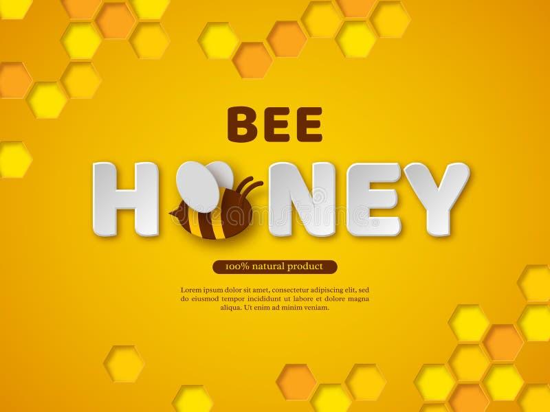 Het typografische ontwerp van de bijenhoning Het document sneed stijlbrieven, kam en bij Gele achtergrond, vectorillustratie royalty-vrije illustratie
