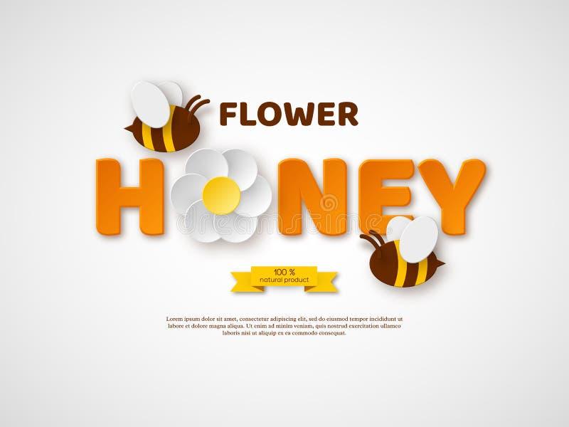 Het typografische ontwerp van de bloemhoning Het document sneed stijlbrieven, bloem en bijen Malplaatjeontwerp voor het beekiping vector illustratie