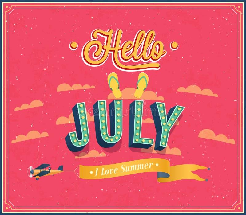 Het typografische ontwerp van Hello juli. royalty-vrije illustratie