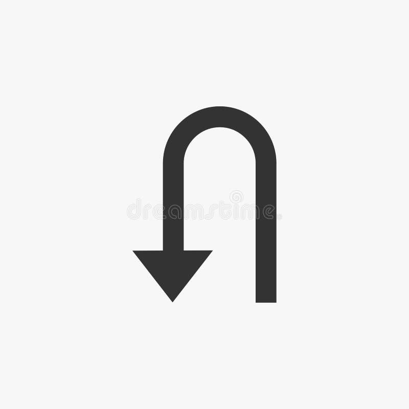Het u-draai pictogram, voorziet, roadsign, pijl van wegwijzers vector illustratie