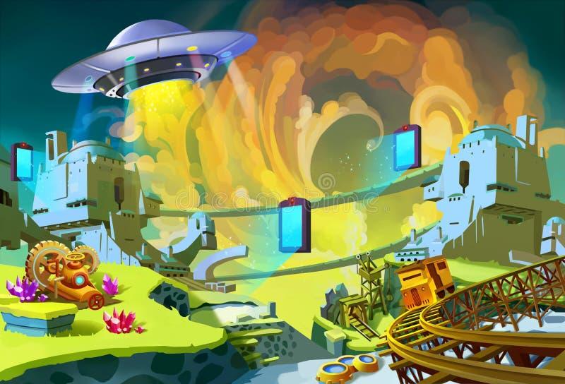 Het UFO bouwt sommige Vreemde Portalen boven Vergeten Gem Mine Area vector illustratie