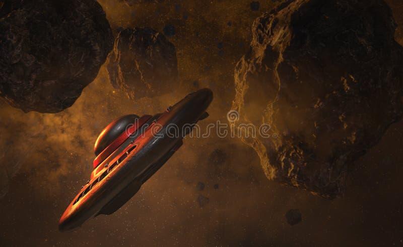 Het UFO in ruimte 3d geeft terug royalty-vrije illustratie