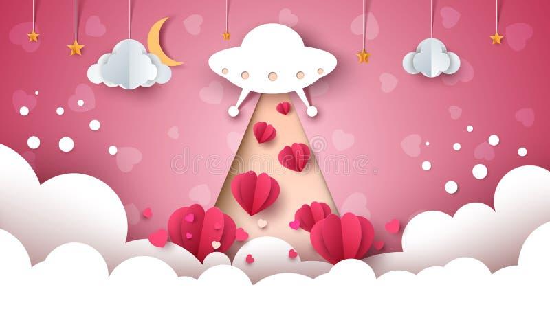 Het UFO van het beeldverhaal Liefde, hartillustratie stock illustratie