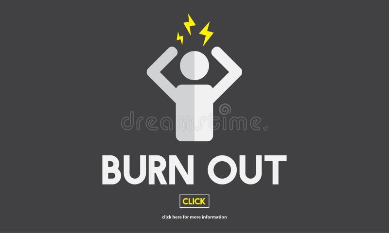 Het uit:branden beklemtoont Vermoeid Overwerkt Concept royalty-vrije illustratie