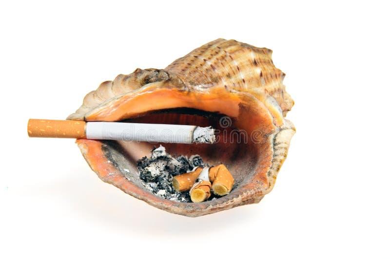 Het uiteinde van de sigaret in het shell asbakje stock foto's