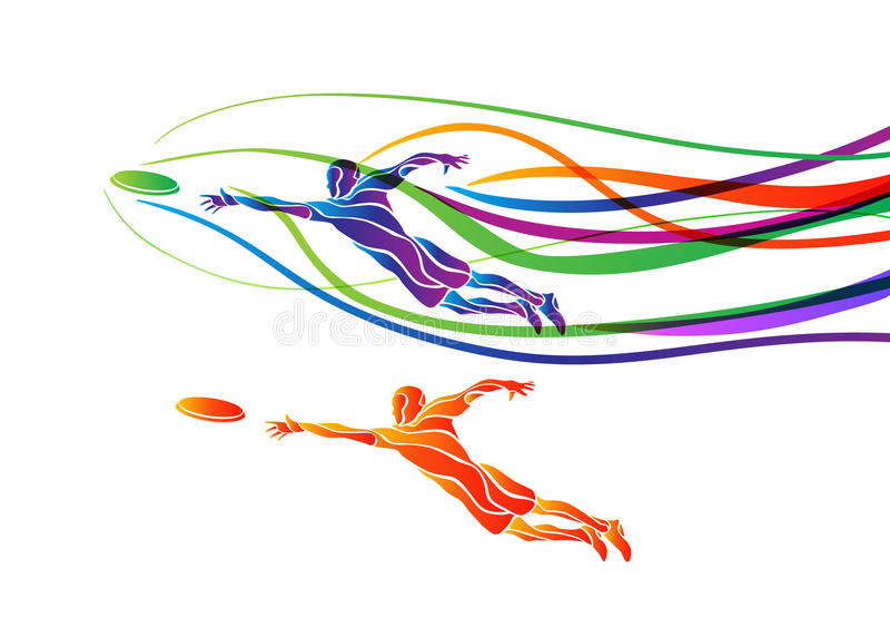 Het uiteindelijke silhouet van de de speler creatieve kleur van de sport vliegende schijf stock illustratie