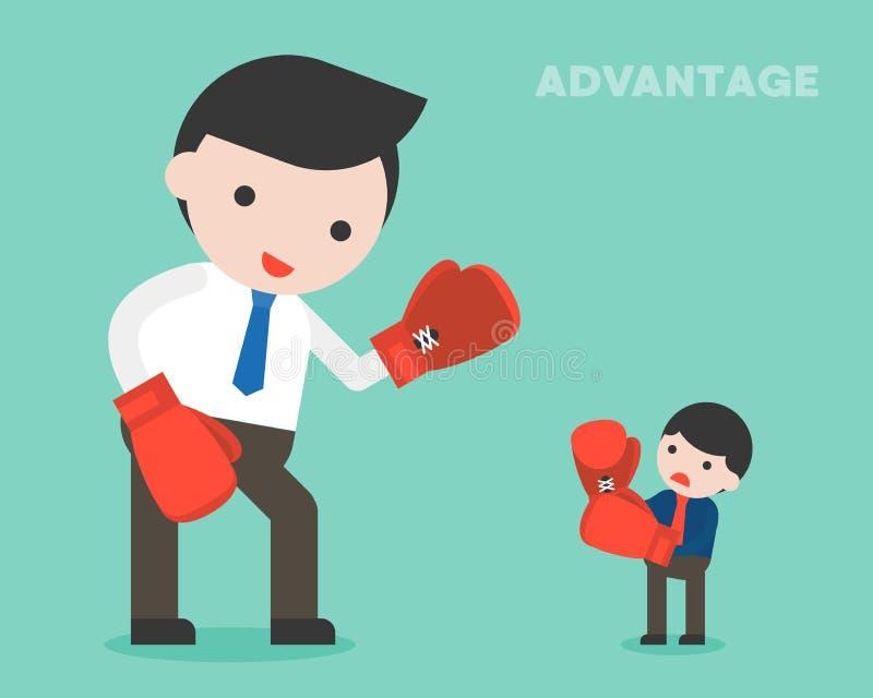 Het uiterst kleine zakenman vechten met reuze bedrijfsvrouw door in dozen te doen, a vector illustratie