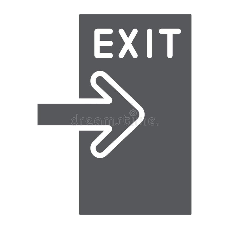 Het uitgangs glyph pictogram, evacueert en noodsituatie, outputteken, vectorafbeeldingen, een stevig patroon op een witte achterg royalty-vrije illustratie