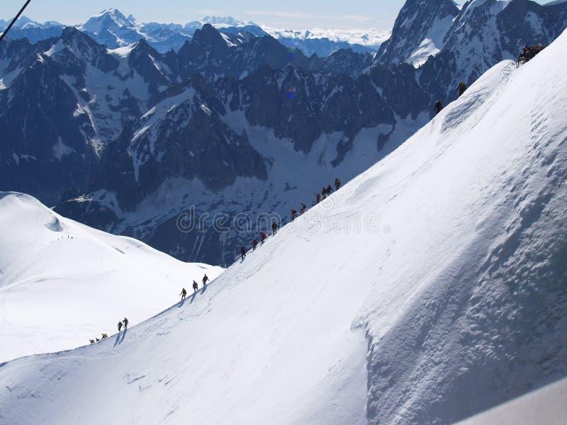 Het uitgangspunt van Mont blanc stock afbeeldingen