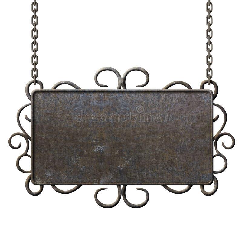 Het uithangbord van het metaal het hangen op geïsoleerde kettingen royalty-vrije stock fotografie