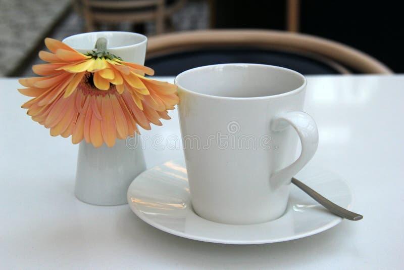 Het uitnodigen scène met eenvoudige witte koffiekop en schotel, enige bloem als onthaal aan ochtend stock foto's