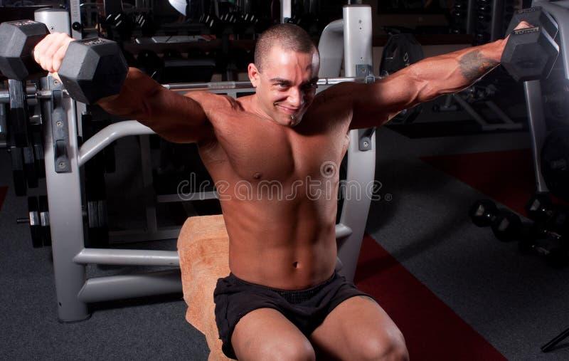 Het uitoefenen van de bodybuilder stock afbeeldingen