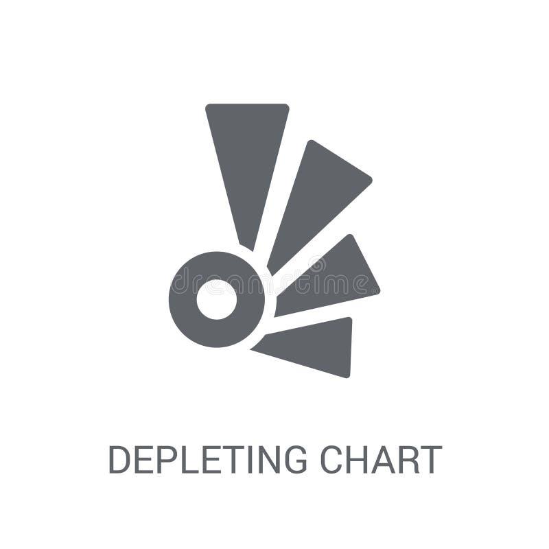Het uitputten van grafiekpictogram Het in Uitputtende concept van het grafiekembleem op whi stock illustratie