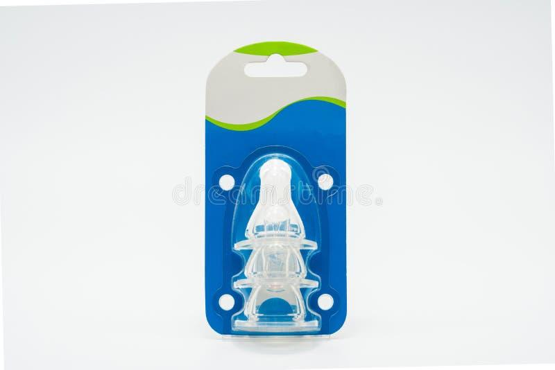 Het uitsteeksel van het babysilicone in plastic verpakking met goed ontwerp, voegt enkel uw eigen tekst toe stock afbeeldingen