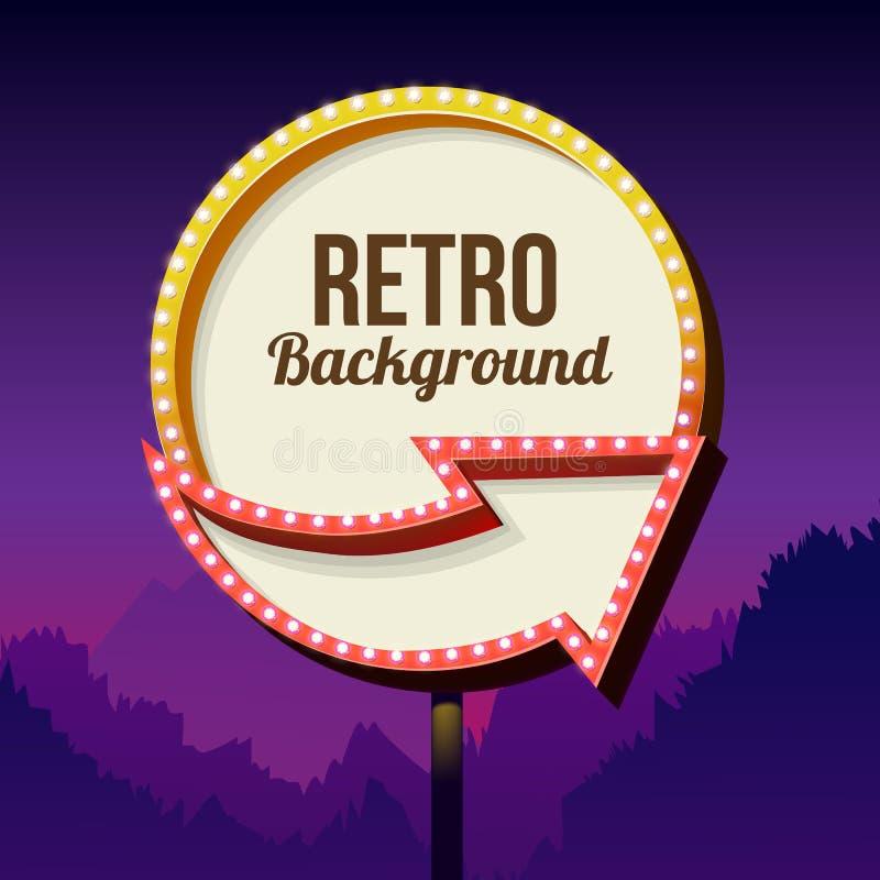 Het uitstekende aanplakbord van de reclameweg met lichten Retro Teken royalty-vrije illustratie
