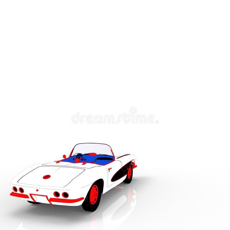Het uitstekende automalplaatje 3d teruggeven stock illustratie