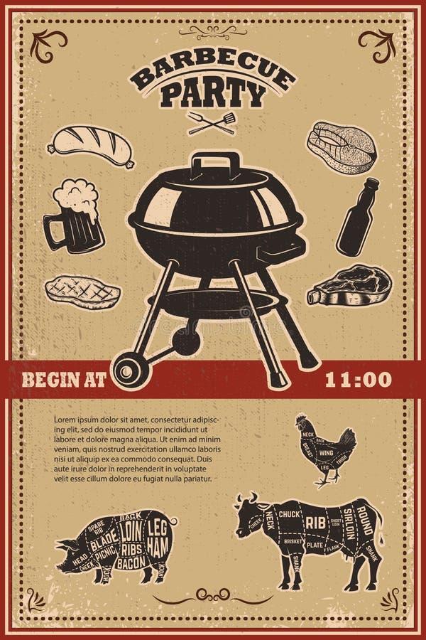Het uitstekende bbq malplaatje van de partijaffiche Grill, lapje vlees, vlees, bierfles en mok Koe, varkensvlees, het diagram van vector illustratie