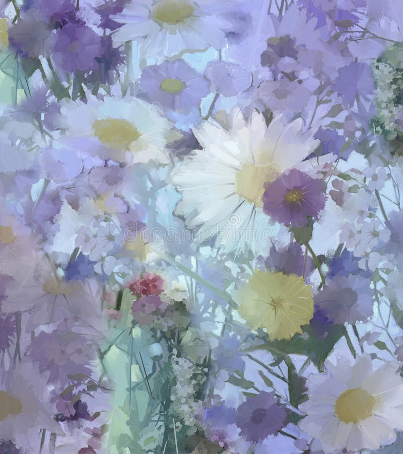 Het uitstekende bloemen schilderen Bloemen in zachte kleur en onduidelijk beeldstijl royalty-vrije illustratie
