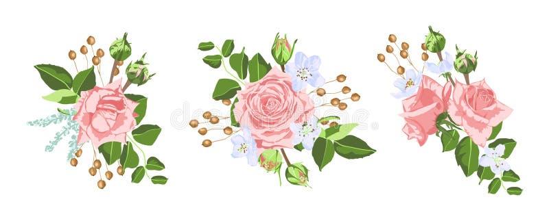 Het uitstekende Boeket van Rozenbloemen voor Huwelijk stock illustratie