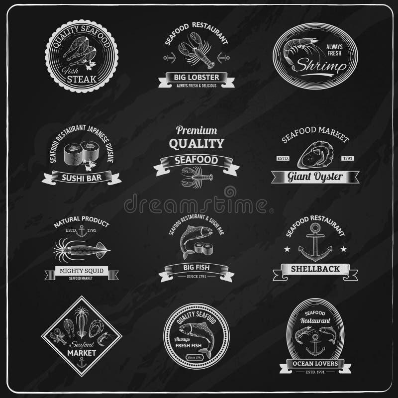 Het uitstekende Bord van Zeevruchtenkentekens royalty-vrije illustratie