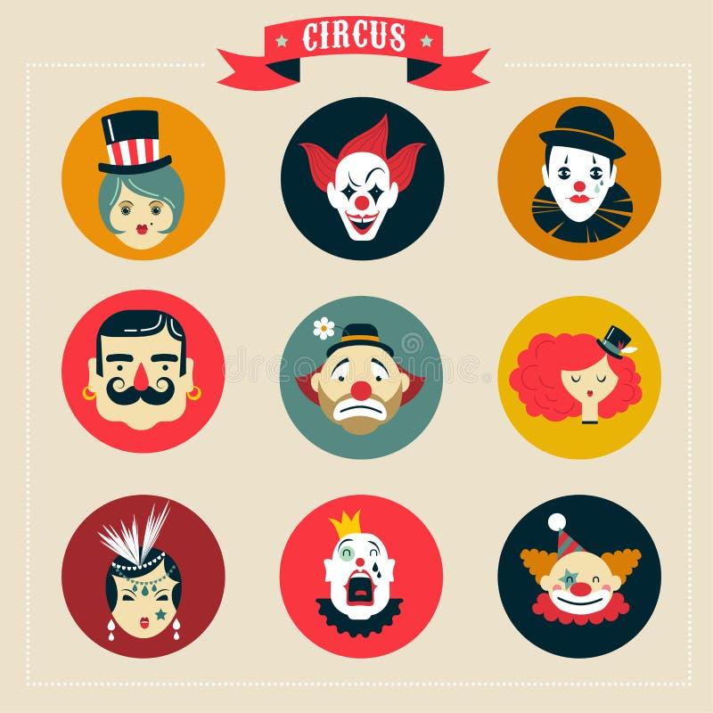 Het uitstekende buitenissige Circus, toont pictogrammen en hipster vector illustratie