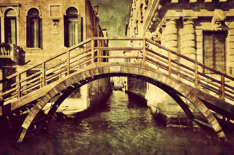 Het uitstekende canvas van Venetië, Italië Een romantische brug royalty-vrije stock fotografie