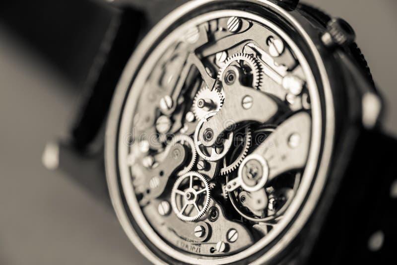 Het uitstekende close-up van het chronograaf mechanische horloge royalty-vrije stock afbeelding