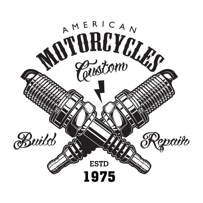 Het uitstekende concept van het motorfietsetiket royalty-vrije illustratie