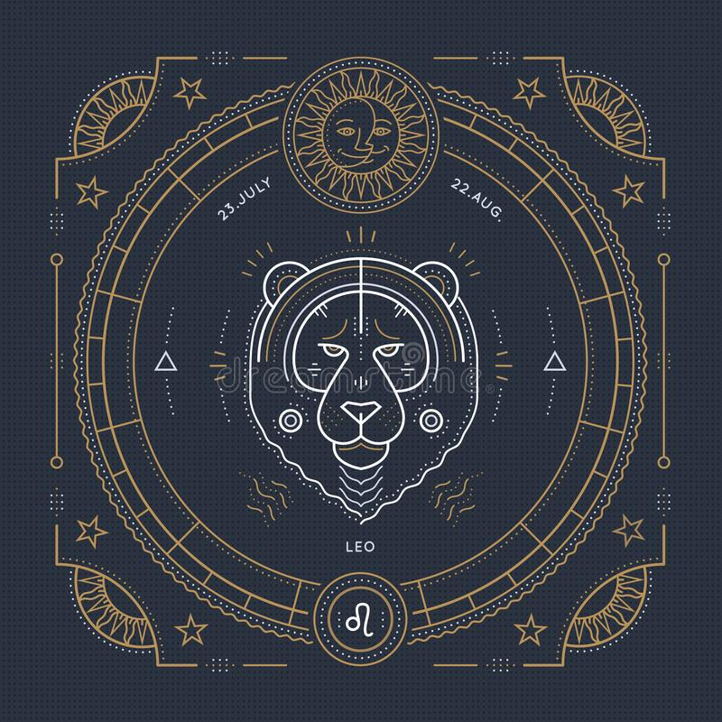 Het uitstekende dunne etiket van het de dierenriemteken van de lijnleeuw Retro vector astrologisch symbool stock illustratie