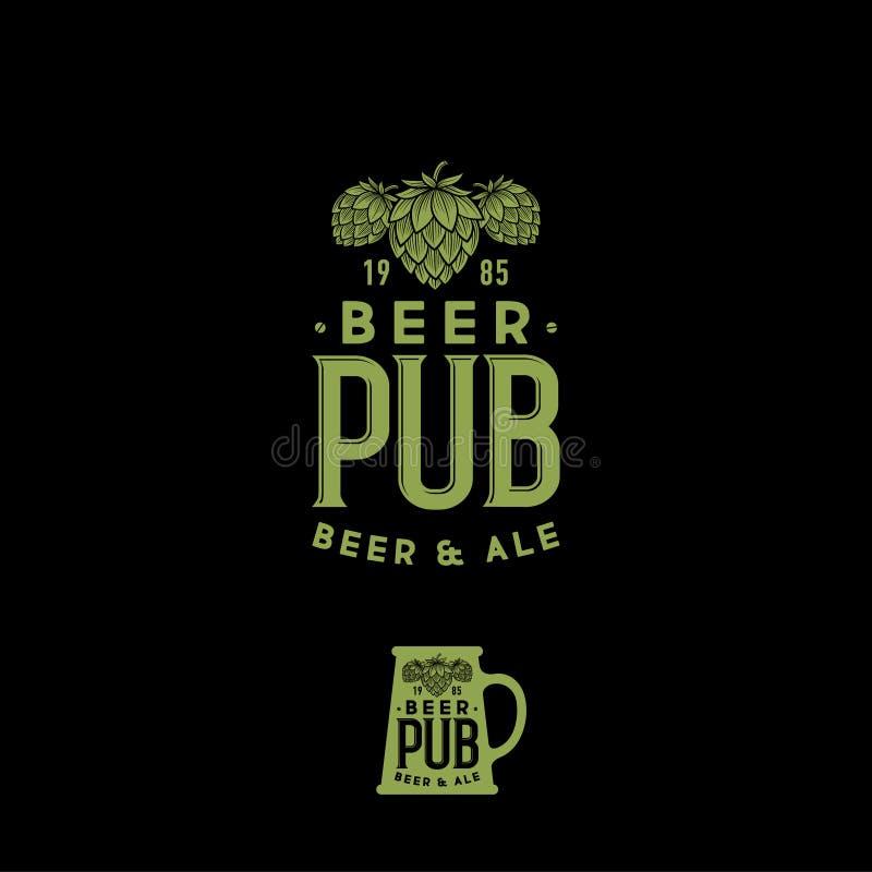 Het uitstekende embleem van de bierbar Ambachtbier logotype Graverende sjofele stijl Mokteken met hopkegels vector illustratie