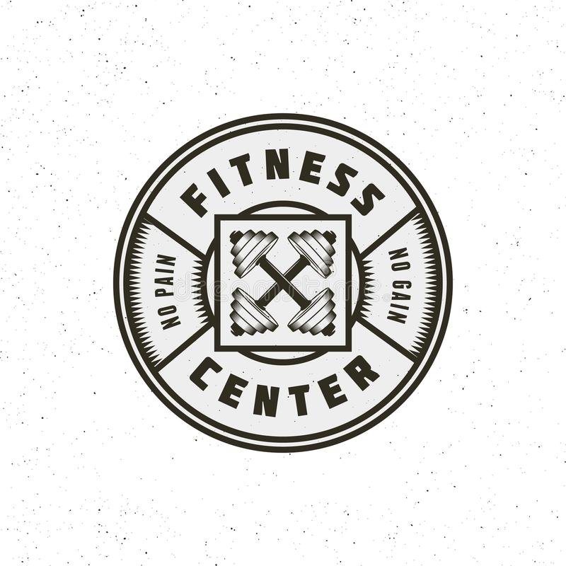 Het uitstekende embleem van de geschiktheidsgymnastiek retro gestileerd sportembleem Vector illustratie vector illustratie