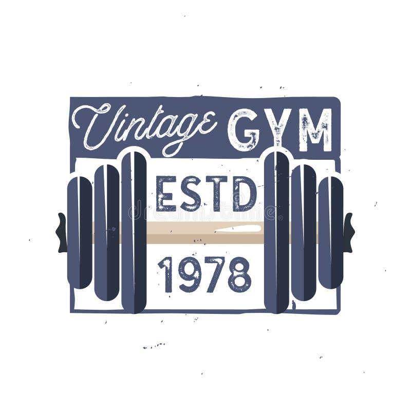 Het uitstekende embleem van de gymnastiekgeschiktheid in oud-schoolstijl Lichte versie stock illustratie