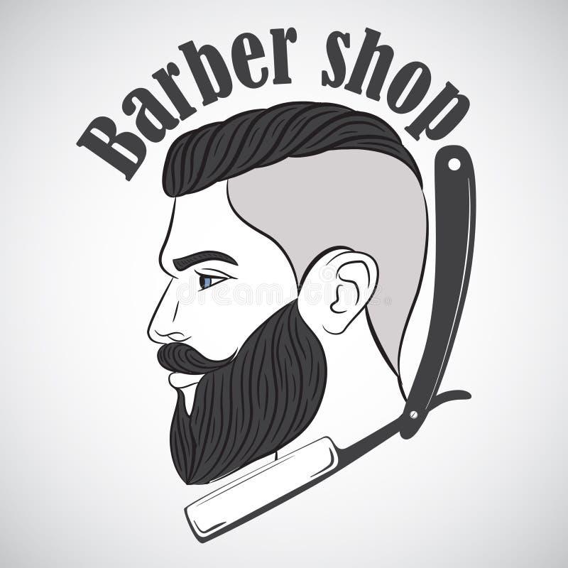 Het uitstekende embleem van de kapperswinkel, etiket, kenteken, embleem stock illustratie