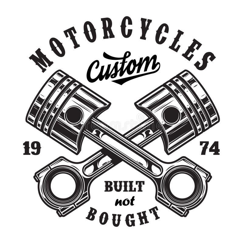 Het uitstekende embleem van de motorfietsworkshop royalty-vrije illustratie