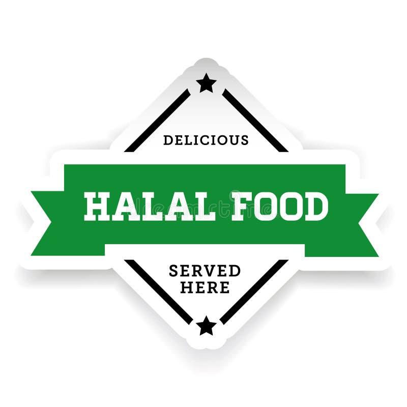 Het uitstekende etiket van het Halalvoedsel stock illustratie
