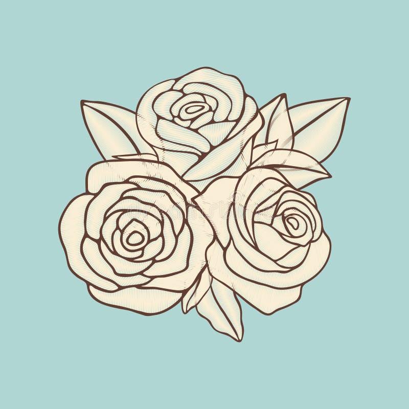 Het uitstekende hand getrokken vectorontwerp van het rozenflard royalty-vrije illustratie