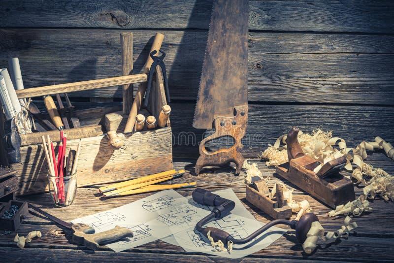 Het uitstekende houten bureau van de timmermanstekening op rustieke houten lijst royalty-vrije stock fotografie
